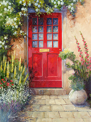 Red Door with Roses