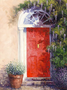 Red Door with Wisteria